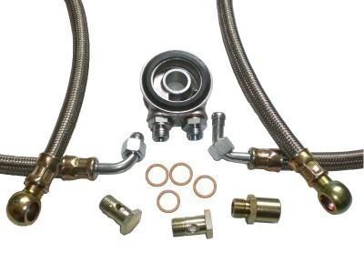 Ölkühler Einbausatz - Stahlflex Schläuche (silber) - ohne Thermostat