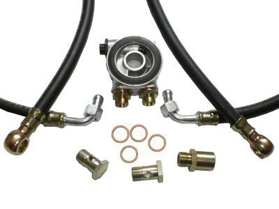 Ölkühler Einbausatz - Standard Schläuche (schwarz) - mit Thermostat