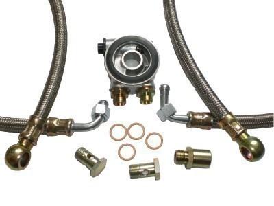 Ölkühler Einbausatz - Stahlflex Schläuche (silber) - mit Thermostat